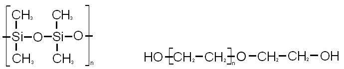 Strukturformel von Dimethylpolysiloxan und Polyethylenglykol
